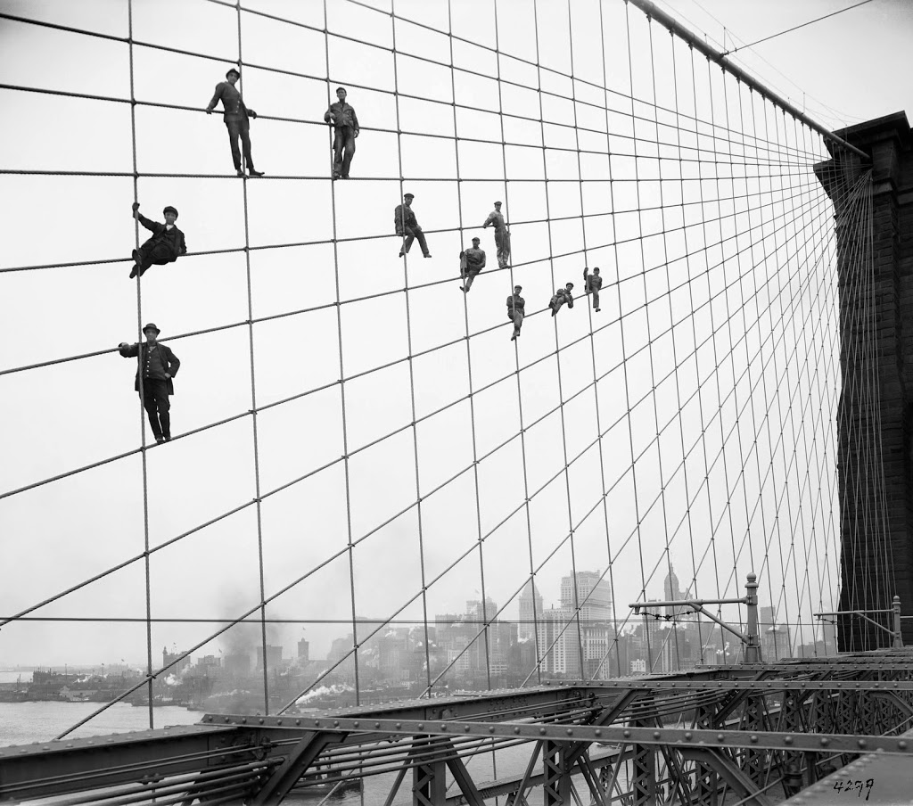 The story of painters on the brooklyn bridge a classic photograph the photograph above officially called brooklyn bridge showing painters on suspenders is perhaps the best known image taken by eugene de salignac malvernweather Images